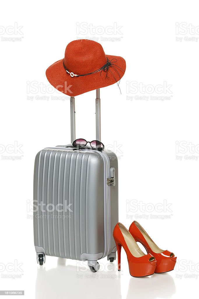 Suitcase with summer accessories royalty-free stock photo