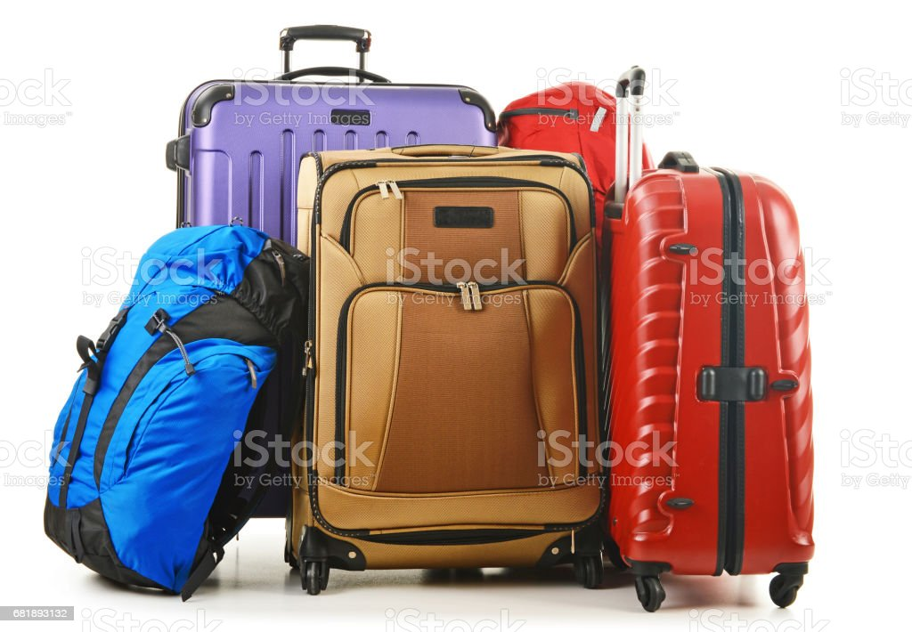 Suitcases and rucksack isolated on white – Foto