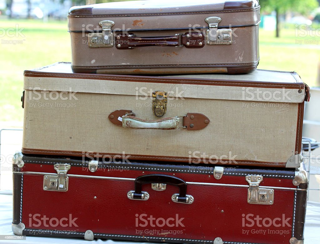 suitcases  in the market for vintage and retro stuff stock photo