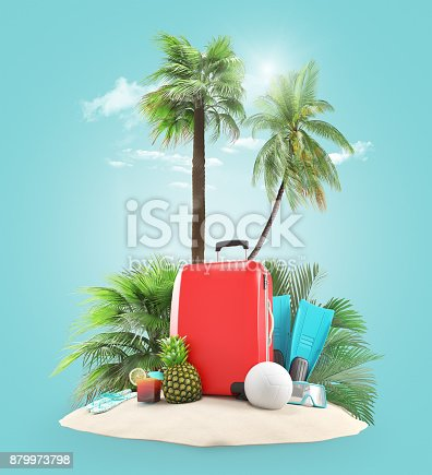 istock Suitcases on the beach with palms 879973798