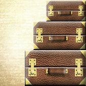 Leather suitcase isolated on white background