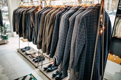 Suits on rack