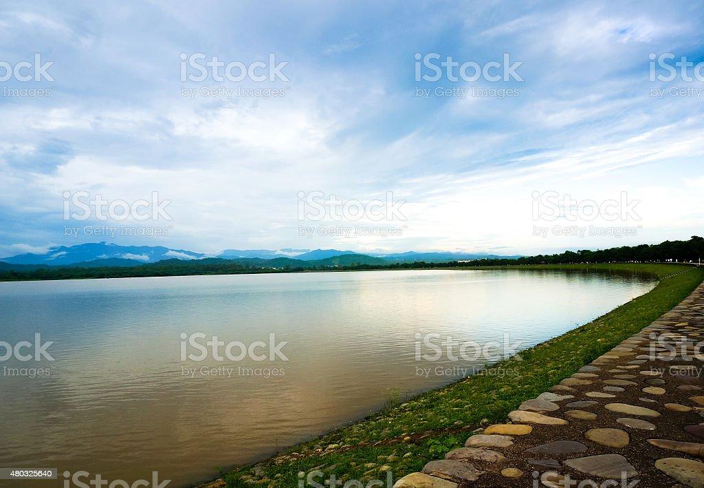 Sukhna lake in Chandigarh India stock photo