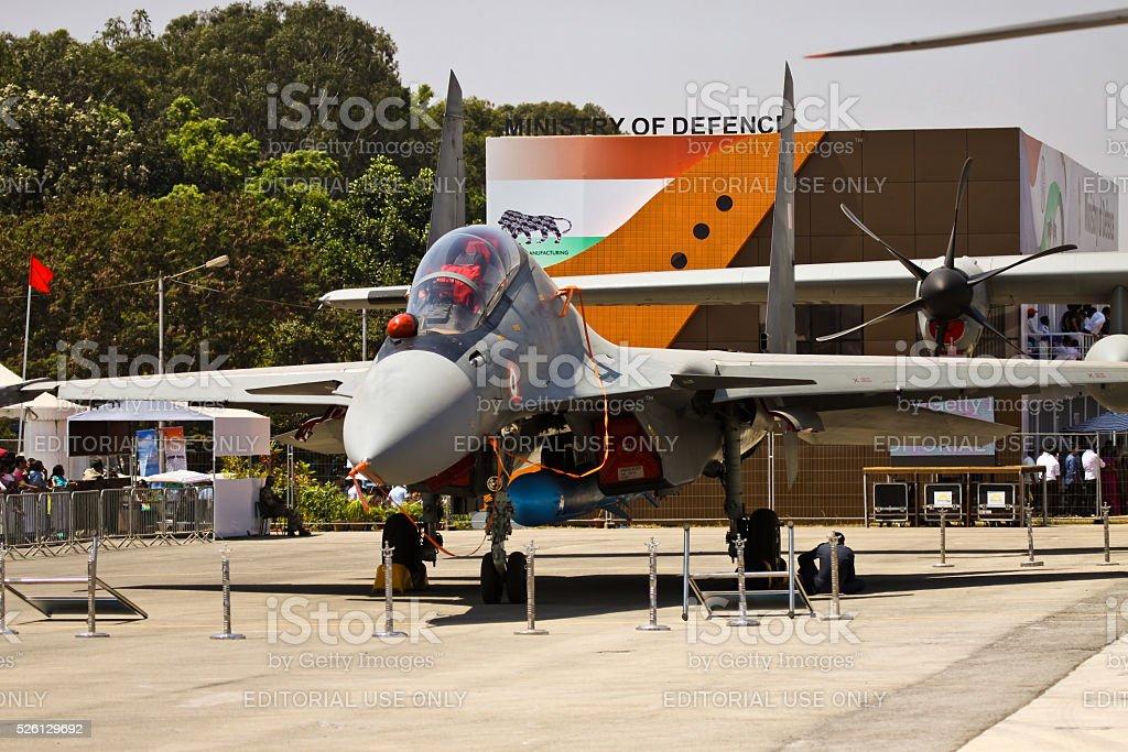 Sukhoi 30 MKI with Brahmos Cruise Missile stock photo