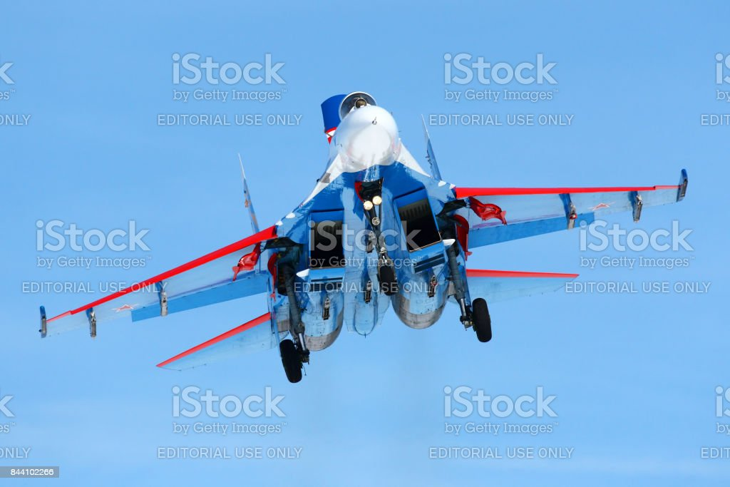 Sukhoi Su-27 04 BLUE jet fighter of Russian Knights aerobatics team landing at Kubinka air force base. stock photo