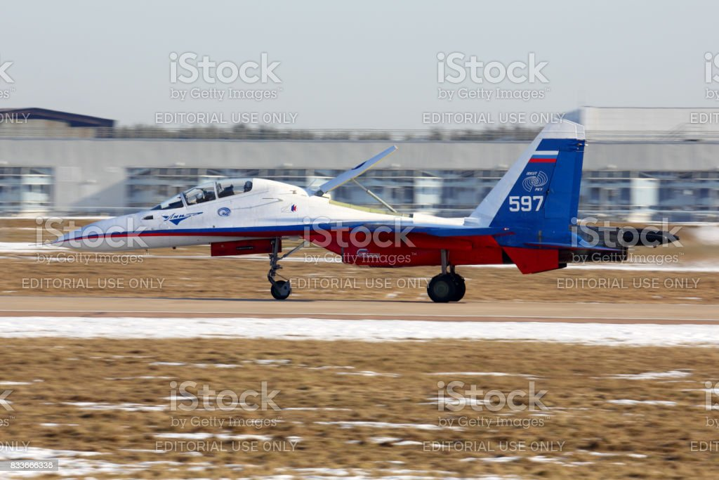 Sukhoi Su-30M 597 WHITE of Flight Research Institute perfoming test flight at Zhukovsky. stock photo