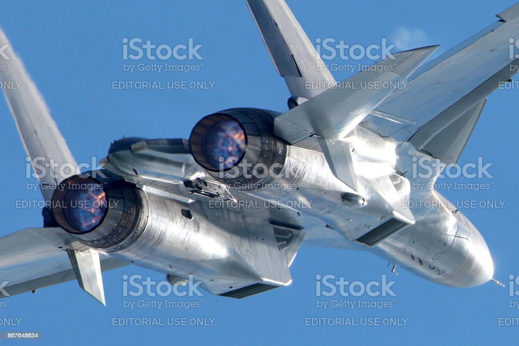 Sukhoi Su-30SM in Zhukovsky during MAKS-2013 stock photo