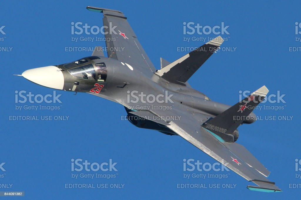 Sukhoi Su-34 29 RED of Russia Air Force shown at MAKS-2013 airshow in Zhukovsky stock photo