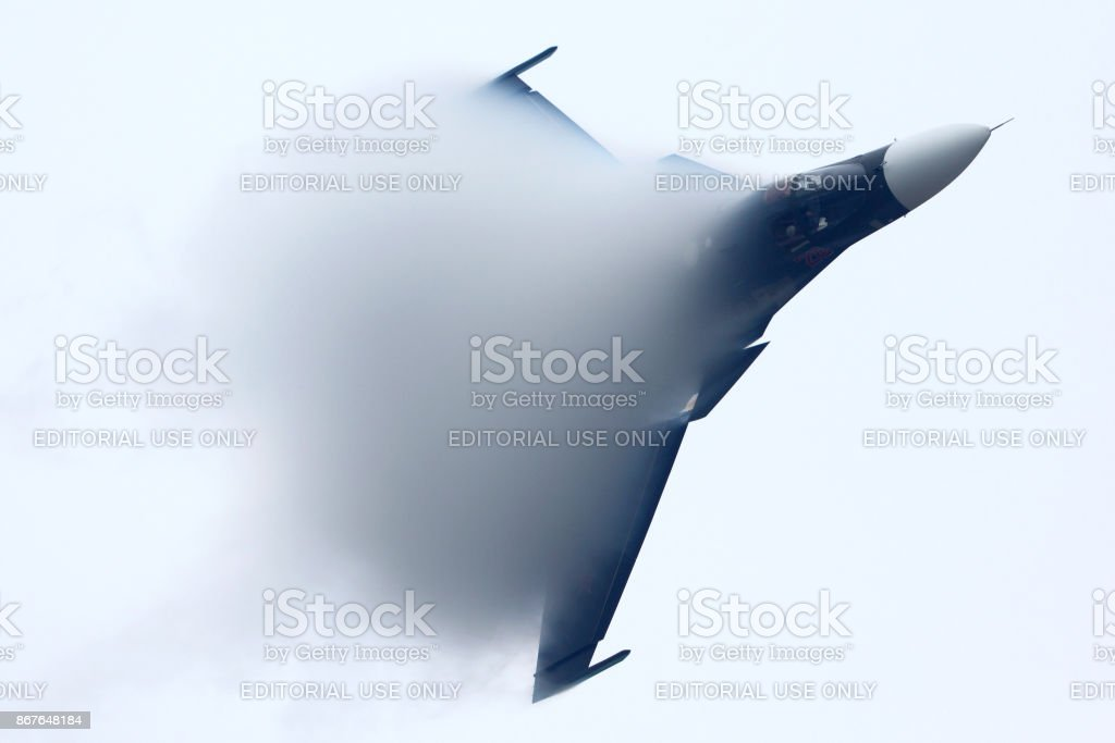 Sukhoi Su-34 of russian air force in Zhukovsky during MAKS-2013 stock photo