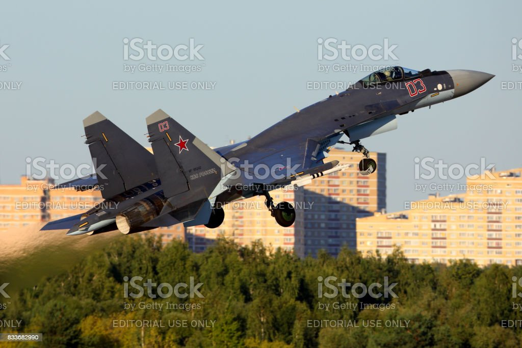 Sukhoi Su-35 RF-95242 of russian air force perfoming demonstration flight in Zhukovsky during MAKS-2015 airshow. stock photo