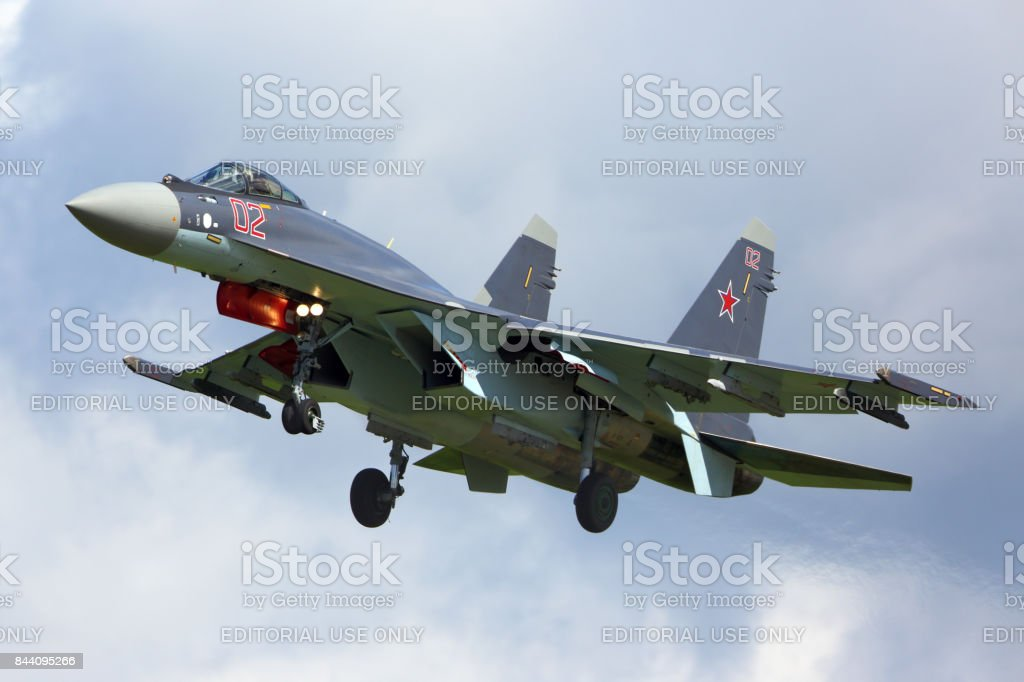 Sukhoi SU-35S RF-95243 modern superconic jet fighter of russian air force landing at Kubinka air force base during Army-2015 forum stock photo