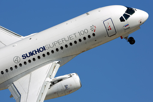 istock Sukhoi Superjet 100 perfoming demonstration flight in Zhukovsky during MAKS-2015 airshow. 664707806