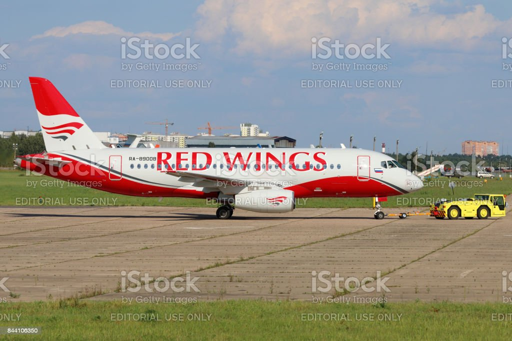 Sukhoi Superjet 100 RA-89008 of Red Wings airlines at Zhukovsky. stock photo