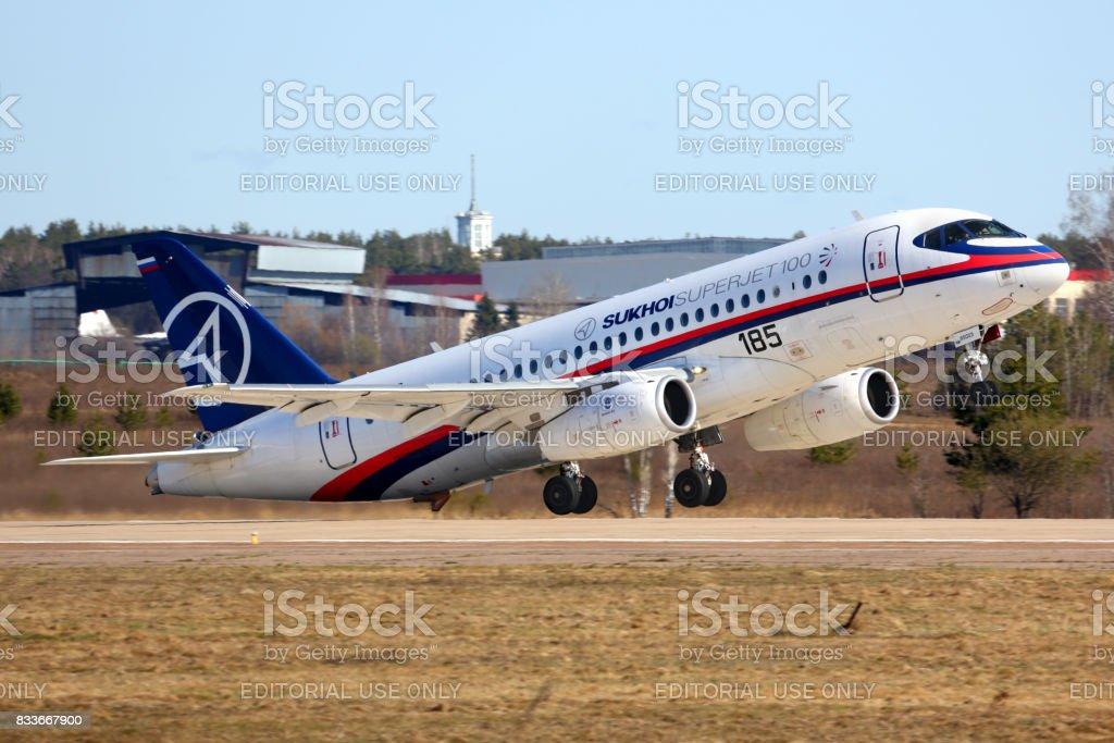 Sukhoi Superjet-100 95003 of performing test flight in Zhukovsky. stock photo