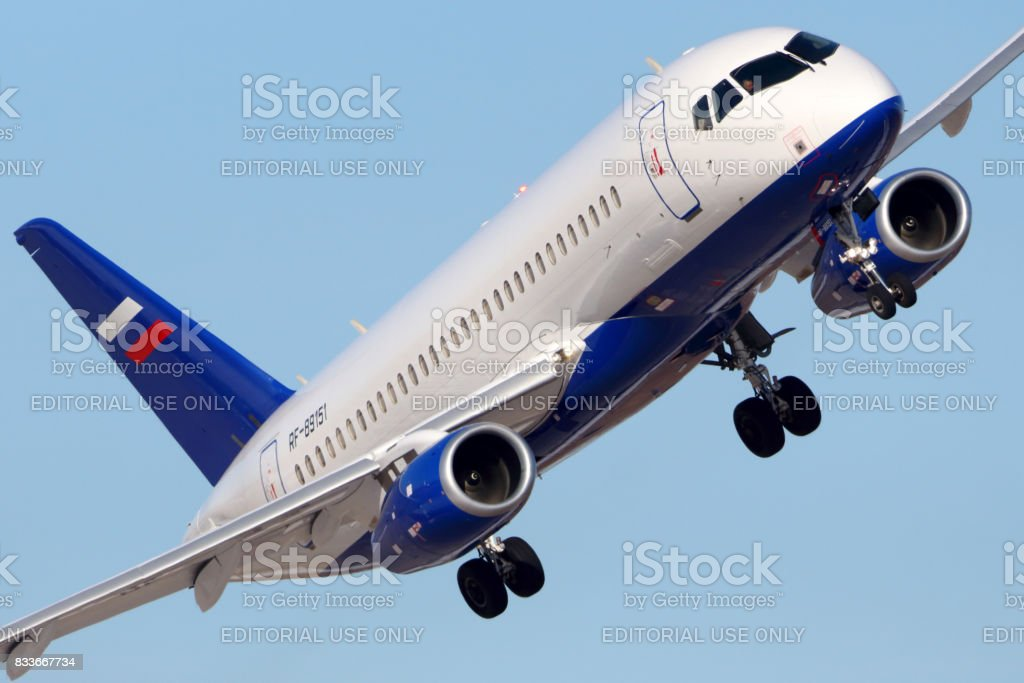 Sukhoi Superjet-100 RF-89151 of Ministry of the Interior of Russia performing test flight in Zhukovsky. stock photo