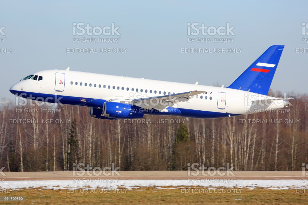 Sukhoi Superjet-100 RF-89151 performing low pass in Zhukovsky. stock photo