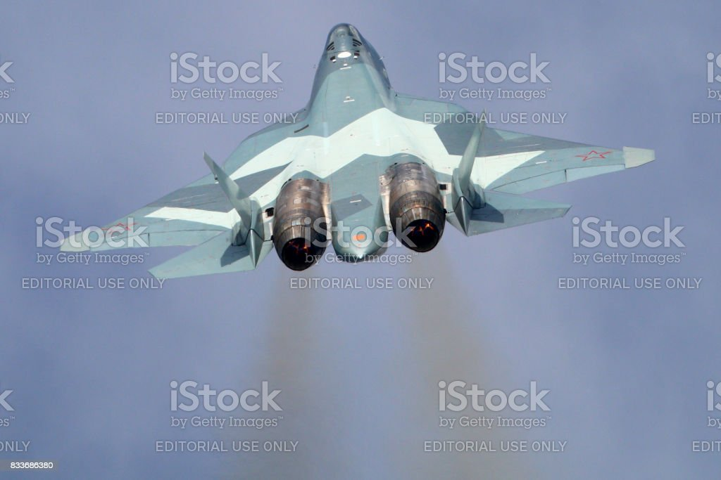 Sukhoi T-50 PAK-FA 054 BLUE of russian air force perfoming demonstration flight in Zhukovsky during MAKS-2015 airshow. stock photo