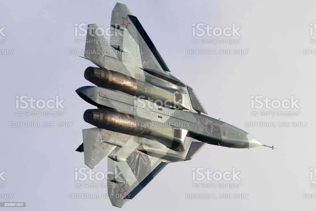 Sukhoi T-50 PAK-FA 52 BLUE shown at 100 years anniversary of Russian Air Forces in Zhukovsky. stock photo