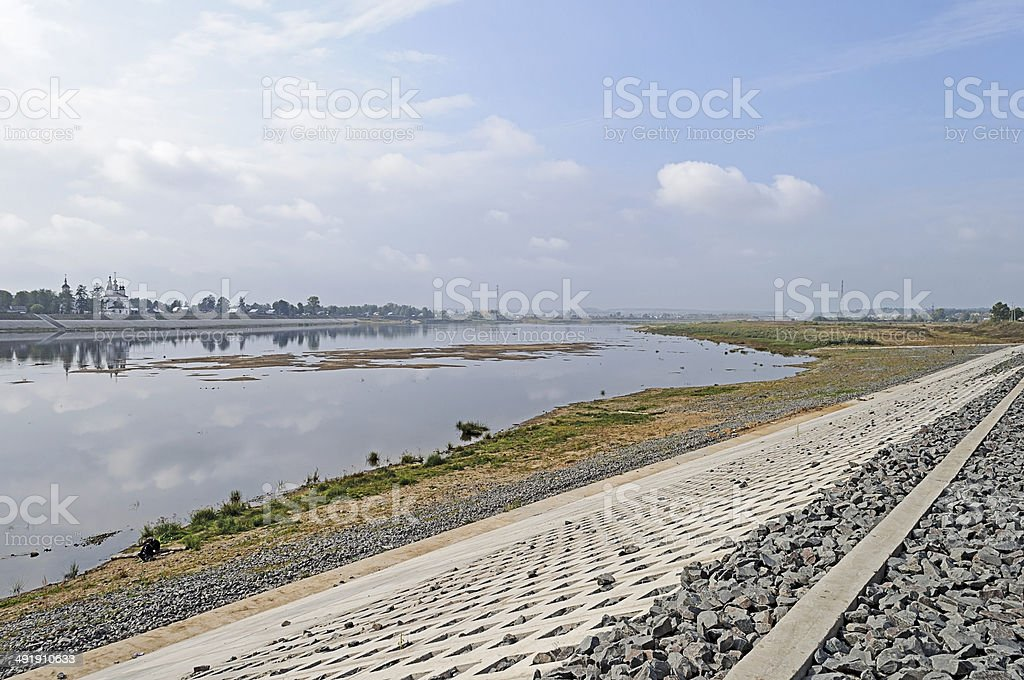 Sukhona river in Veliky Ustyug stock photo