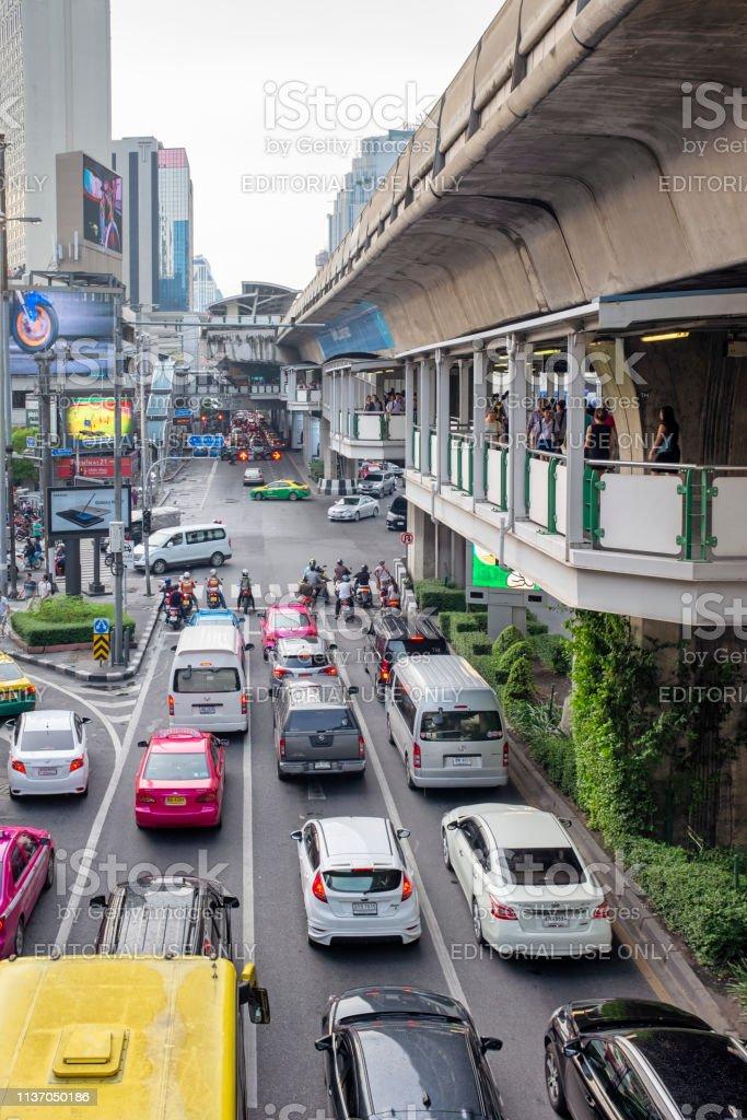 Sukhumvit Road In Bangkok, Thailand stock photo