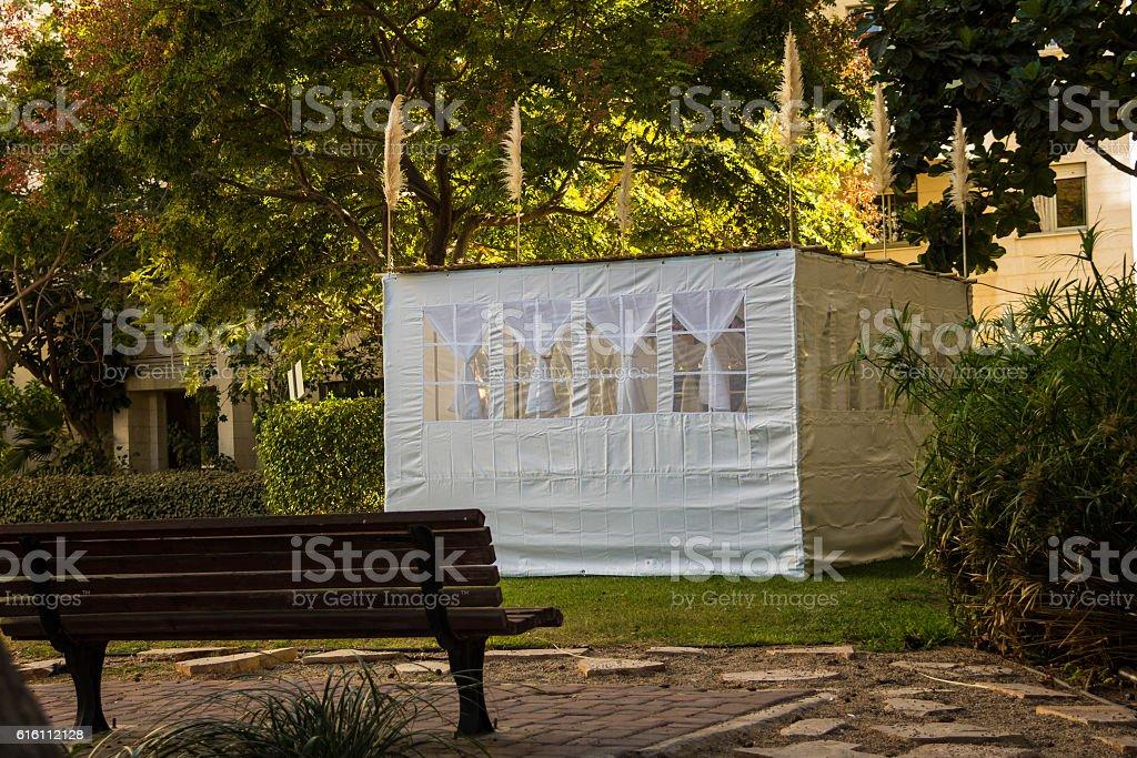 Sukkah, temporary hut constructed for  Jewish festival of Sukkot stock photo