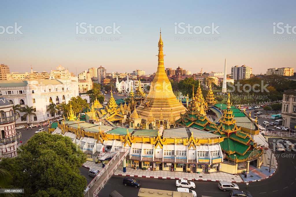 Sule pagoda in central Yangon, Myanmar, Burma. stock photo