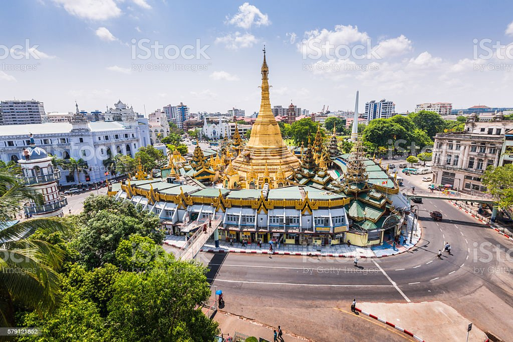 Sule Pagoda on a fine day stock photo