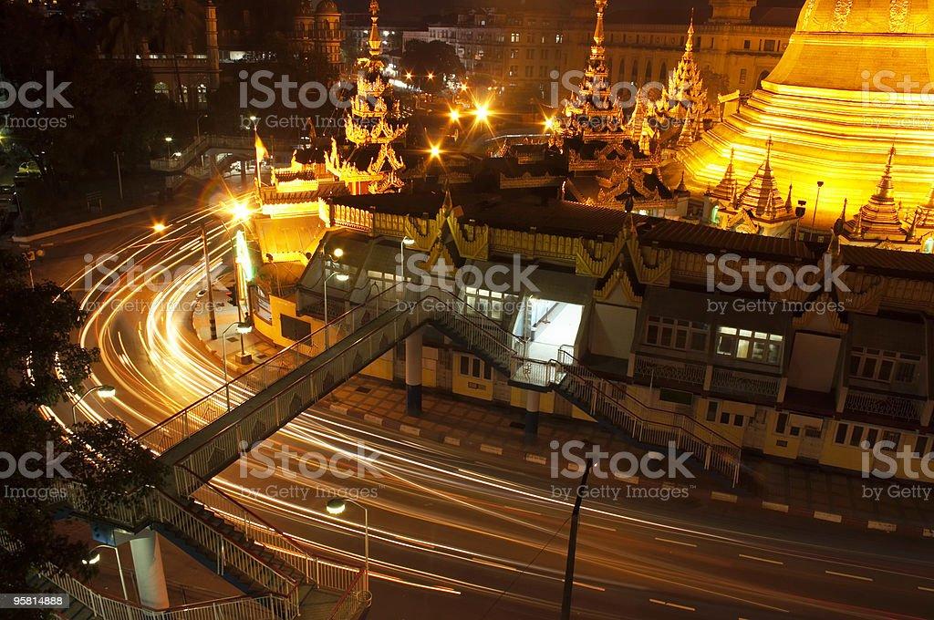 Sule Paya and Night Traffic royalty-free stock photo