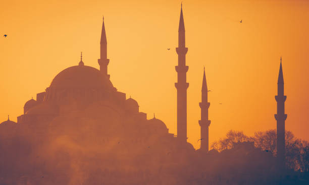 Suleymaniye mosque at sunset Suleymaniye Mosque is in Eminönü District, Istanbul minaret stock pictures, royalty-free photos & images