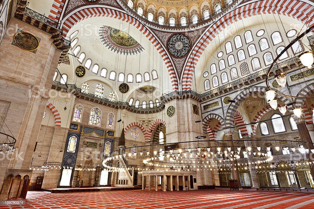 Suleymaniye Mosque in Istanbul Turkey - interior royalty-free stock photo