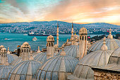 View from the Suleymaniye Mosque complex to the Golden Horn, Istanbul, Turkey. Sunset time
