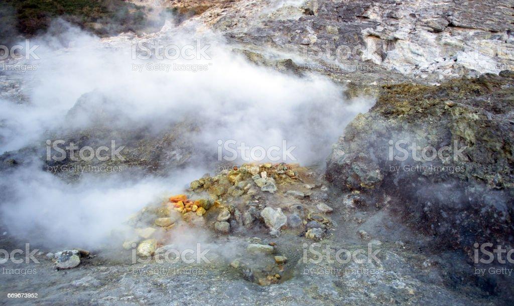 Sulfur at the Solfatara crater, Pozzuoli, Naples, Italy stock photo