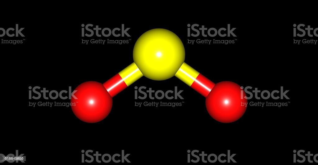 Sulfur dioxide molecular structure isolated on black stock photo