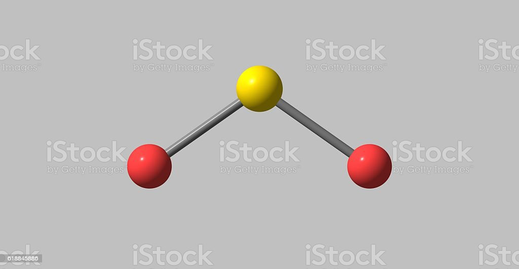 Sulfur dioxide molecular structure isolated on grey stock photo