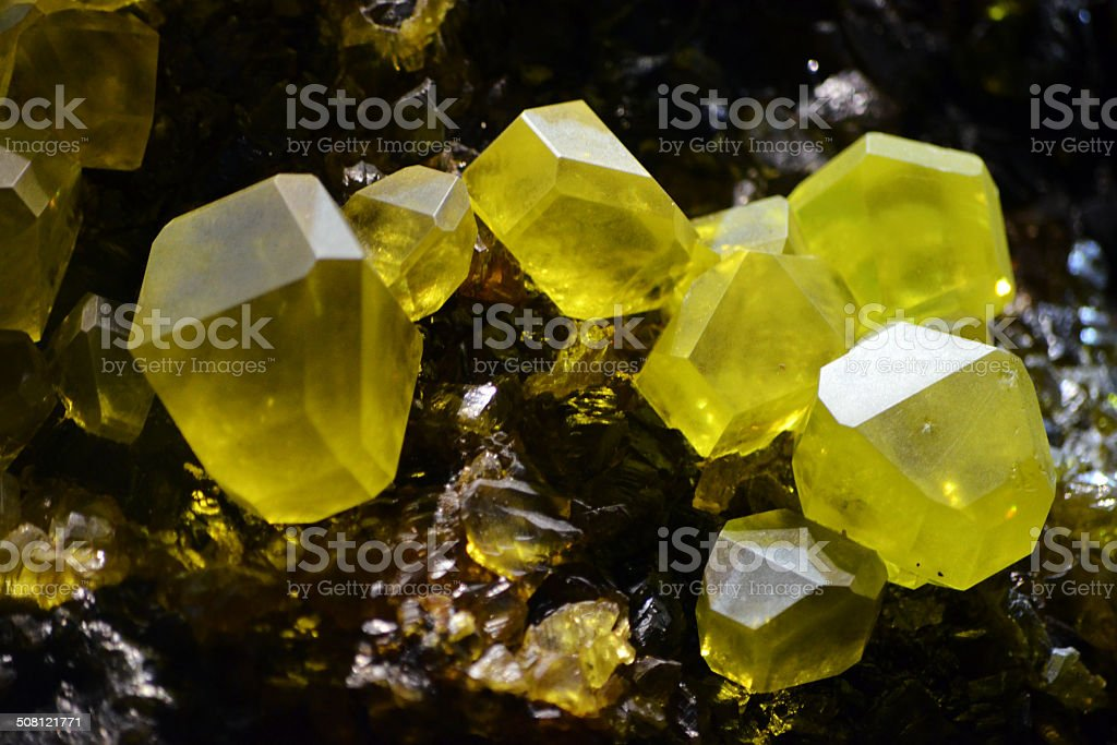 Sulfur Green - Yellow Crystal Macro stock photo