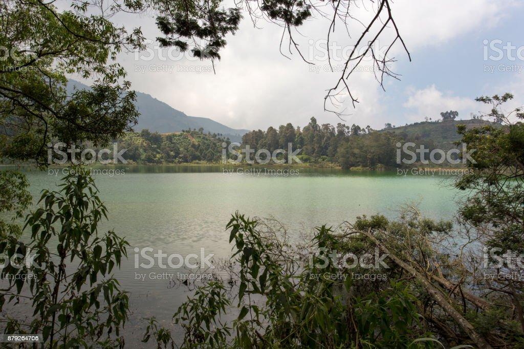 A sulfur lake in Giava stock photo