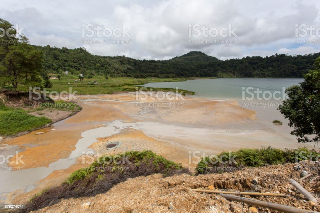 A sulfur lake in north Sulawesi stock photo