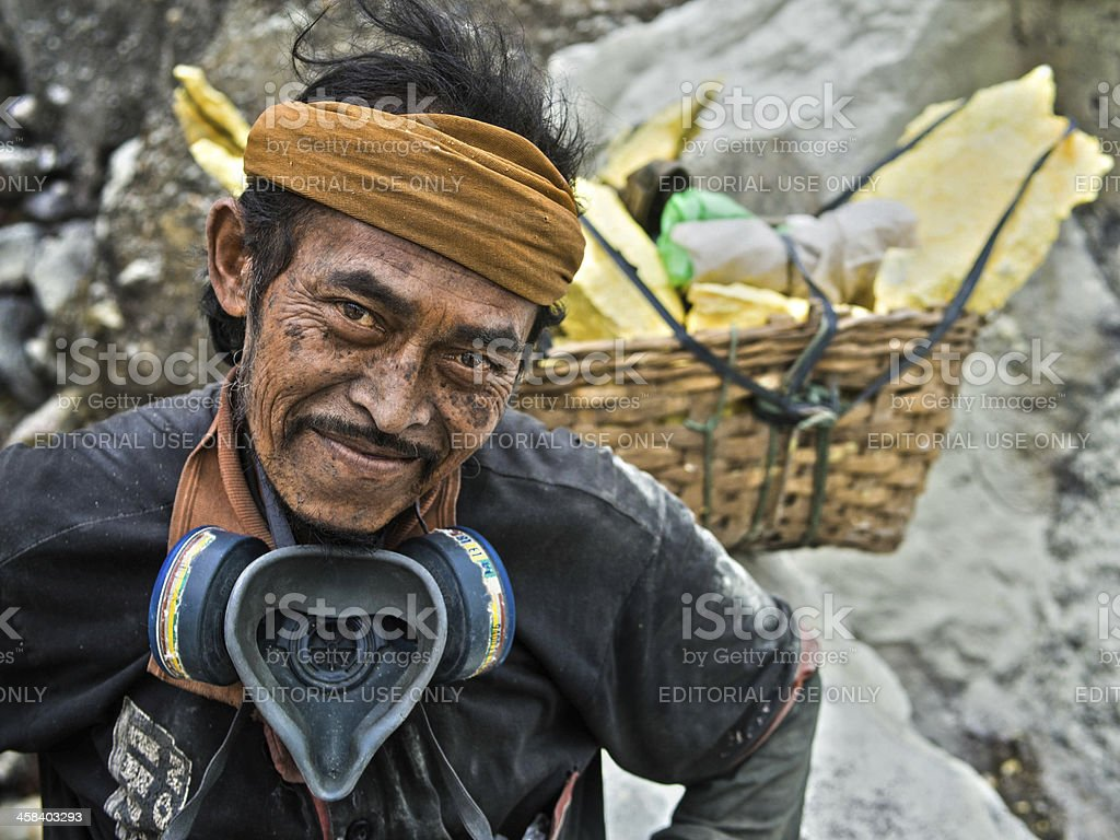 Sulfur Miner at Kawah Ijen Volcano royalty-free stock photo