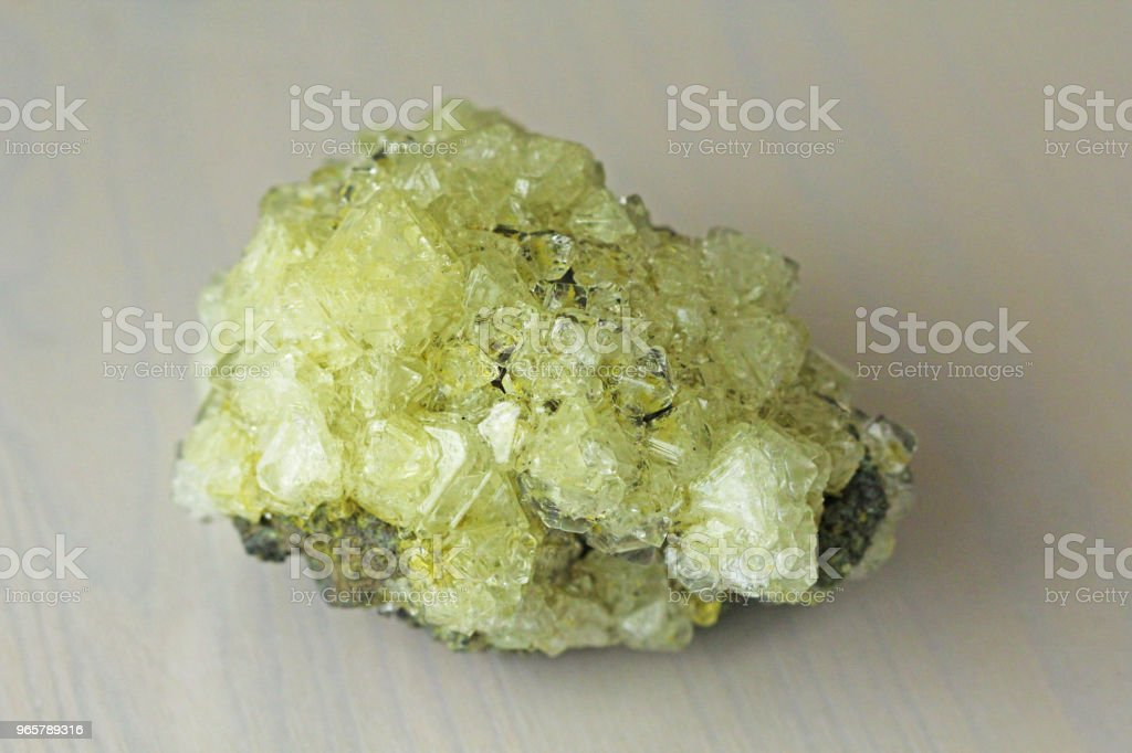 Sulfur Mineral. Yellow Crystals of Mineral Sulfur - Royalty-free Acid Stock Photo
