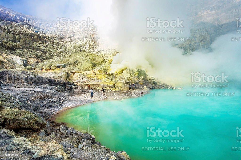 Sulfur Mining Operation at Kawah Ijen Volcano, East Java, Indonesia stock photo