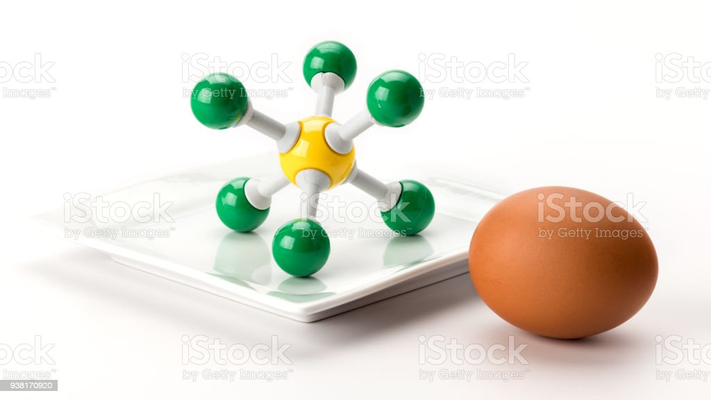 Sulfur Molecule Model And A Brown Round Egg Stock Photo More