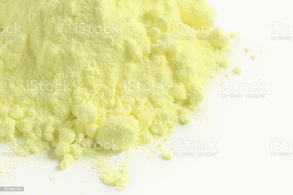 Sulfur powder stock photo
