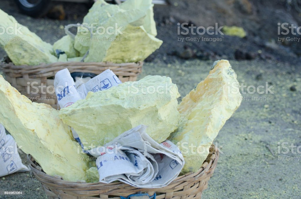 sulfur stones from a volcano stock photo