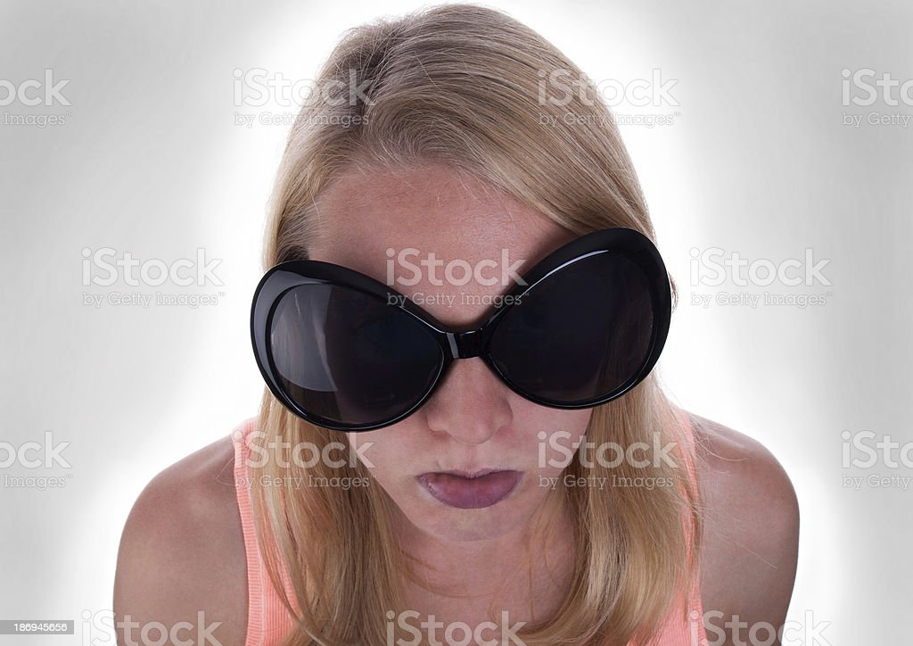 Sulking Teenage With Gray Background stock photo