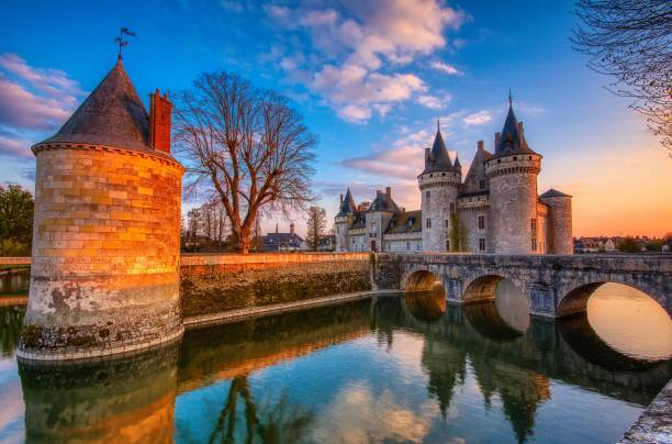 Sully on Loire at sunset. stock photo