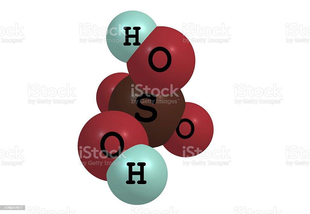 Sulphur acid molecular structure on white background royalty-free stock photo