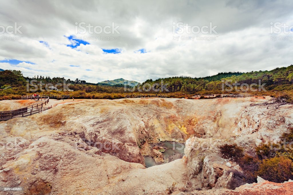 Sulphur Cave Wai-O-Tapu park stock photo