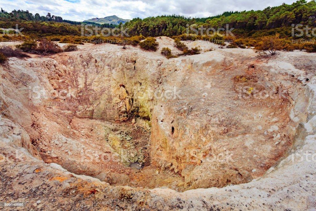 Sulphur crater Wai-O-Tapu park stock photo