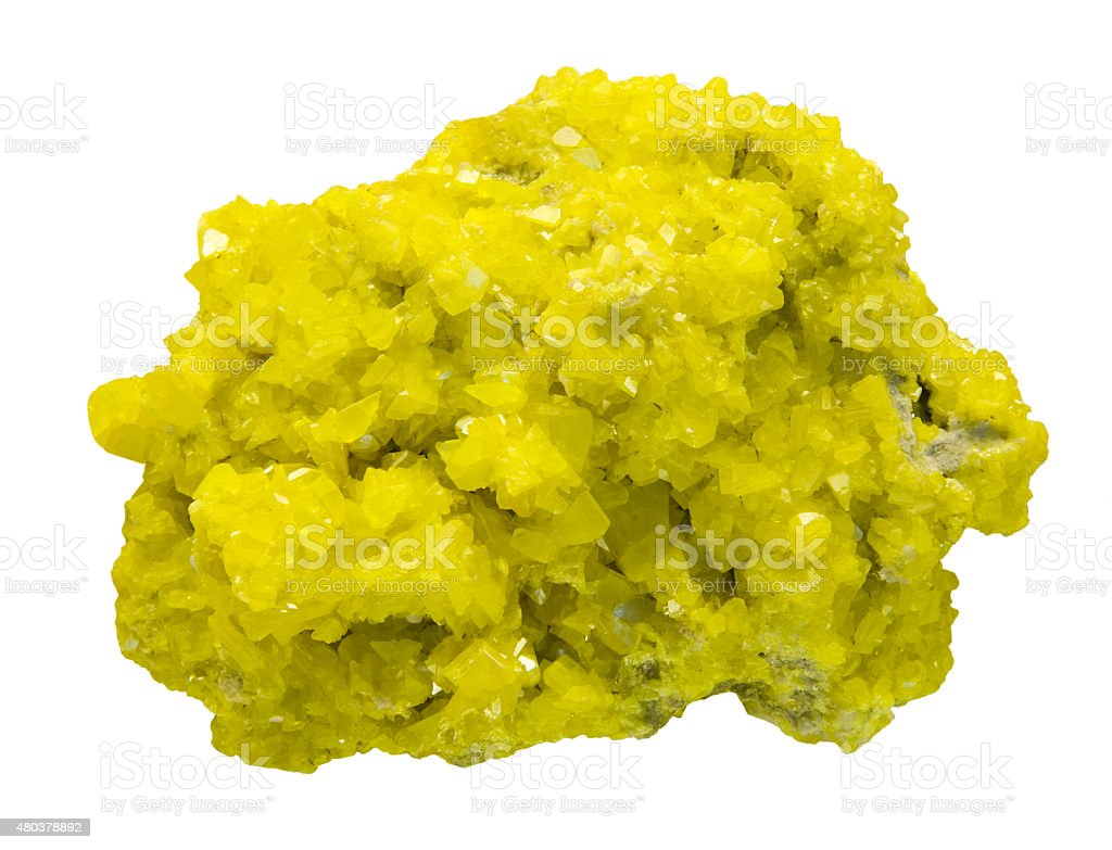 Sulphur crystals isolated on white. stock photo