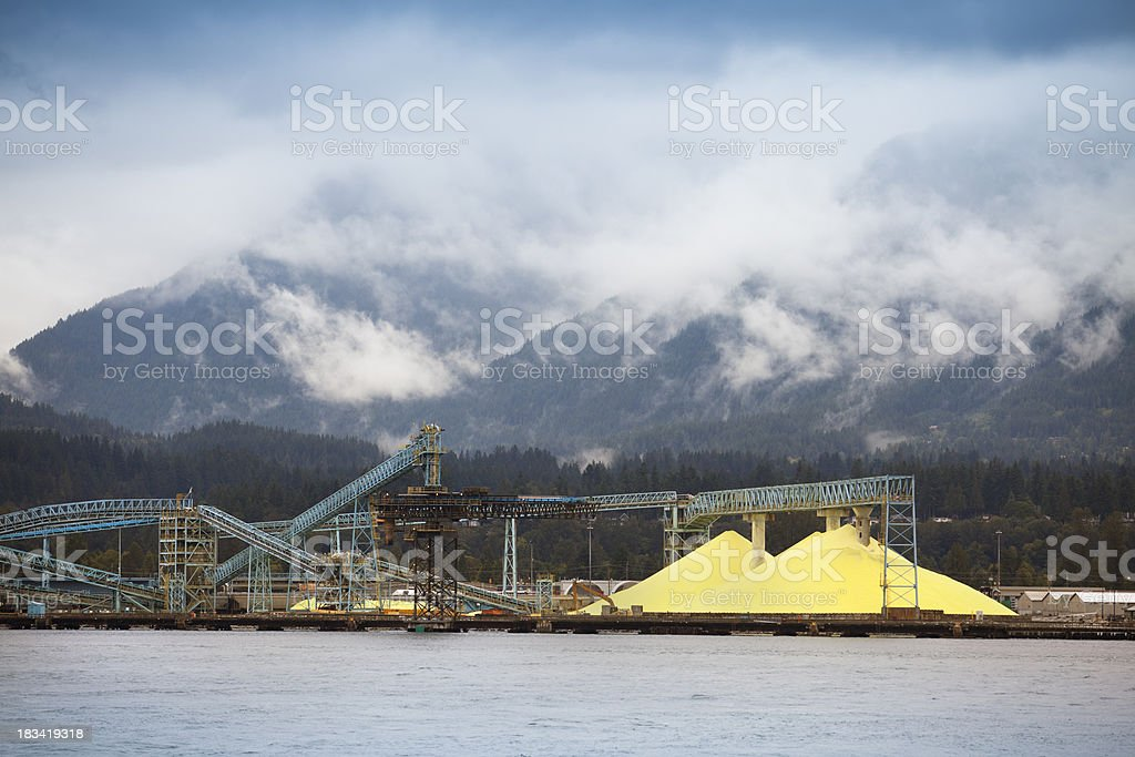 Sulphur pile in Vancouver stock photo